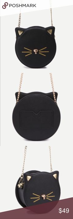 Black Cat Crossbody Black cat crossbody. Vegan leather. Bag length is 6.8 in x bag width is 3.2 in x bag height is 6.8 in. Shoulder strap length is 48 in. New without tags. Never worn. Ships within one week. ShopNicety Bags Crossbody Bags
