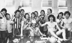 Manager Jack Charlton and the team celebrate promotion to Division Two in 1980