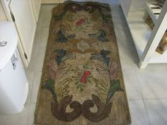 Early 1900s Hooked Rug Runner with Flowers and Leaf Border | eBay