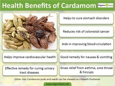Health benefits of cardamom include gastrointestinal protection, cholesterol control, control of cancer, relief from cardiovascular issues and improvement of blood circulation in the body. It is useful for curing dental diseases and urinary tract infections such as cystitis, nephritis and gonorrhoea. Cardamom possesses aphrodisiac properties and is also used as a cure for impotency, erectile dysfunction and premature ejaculation.