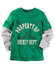 Long-Sleeve Layered-Look Hockey Department Graphic Tee