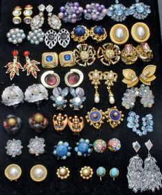 Vintage Lot 29 Pair of Clip Earrings Crystals Rhinestones Signed Vendome Renoir   Jewelry & Watches, Vintage & Antique Jewelry, Costume   eBay!