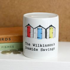 Personalised Money Box 'Beach Huts' by So Close, the perfect gift for Explore more unique gifts in our curated marketplace. Personalised Money Box, Personalized Gifts, Family Holiday, Gifts For Family, Money Bank, Beach Huts, Retirement Gifts, Order Prints, Screen Printing
