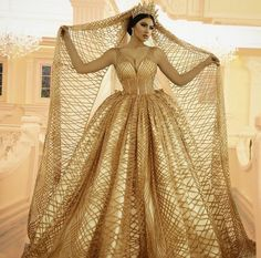 Are you wanting a glamorous wedding dress for your special day? We have a list of several gold glam Wedding dress photos that have stunning look into the design. Vestido Charro, Golden Dress, Fantasy Dress, Glamorous Wedding, Gold Wedding, Beautiful Gowns, Dream Dress, Bridal Dresses, Dress Wedding