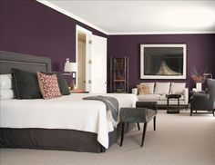 I want my house just like this ---> Purple & Gray Colour Scheme for Bedroom