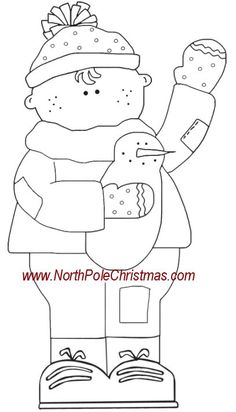 snowman patterns | Winter Crafts - Boy with Snowman Craft Pattern