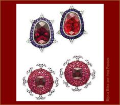 The Safra sale catalogue views.  Earrings (1995) with garnet (24.53 carats), tourmaline (28.95 carats), amethyst and diamonds, gold and silver. Earrings (2001) with central almandine garnets (7.45 and 7.48 carat), pave of rubies and diamonds, gold and silver.