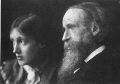 Virginia Woolf with her father Leslie Stephen at Talland House in St. Ives in 1892. #virginiawoolf #lesliestephen