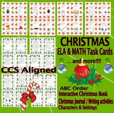Christmas Math and ELA Task Cards. CCS Aligned. PLUS: Christmas interactive book, Christmas journal (writing activities), ABC order using some of Dolch's Primer sight words, sorting characters & settings. #Christmas #taskcards #reading #writing