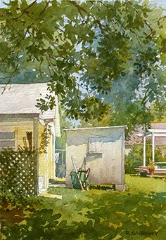 "Back Yards by Richard Sneary Watercolor ~ 14"" x 10"""