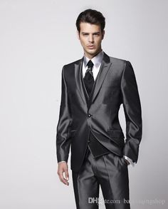 2015 New Style Shiny Groom Tuxedos Peak Lapel Best Man Suit Charcoal Grey Groomsmanbridegroom Weddingprom Suits Jacket+Pants+Tie+Vest N5 Dress For Mens Formal Formal Clothes For Men Styles From Baixinqingshop, $80.74| Dhgate.Com