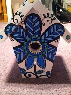 Handpainted birdhouse by NotSoPlainJaynes on Etsy, $40.00