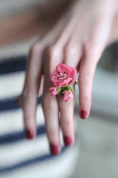 Bright cherry blossom ring - Wedding apple blossom- Blossom accessorize - Flower wedding accessorize- Rustic Wedding-