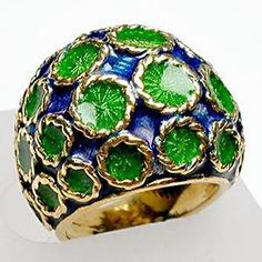 ESTATE TIFFANY & CO ENAMELED DOME COCKTAIL RING SOLID 18K GOLD