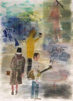 "Mark Mulhern, MAN WITH GUITAR, Monotype, image 41 x 29 1/2"" framed 46 x 36"" Tory Folliard Gallery"