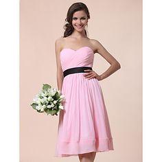 A-line Sweetheart Knee-length Chiffon Over Satin  Bridesmaid Dress  – USD $ 99.99