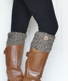 Crochet Boot Cuffs in Barley w/ Button. $20.00, via Etsy.