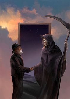 "Death finally gets to meet his maker. Sir Terry Pratchett (28 April 1948 – 12 March 2015). ""Shaking Hands with Death"" by Sandara on deviantart."