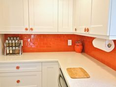 orange kitchen... @Kelsey Myers Fenner I feel like this will be your kitchen one day. Bright and orange! Lol