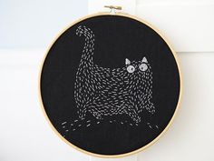 Hand Embroidery Patterns Monochrome Cat At Night Cross Stitch Pattern, Cat Embroidery White on Black Fat Cat Cross Stitch, Modern Cross Stitch Minimalist One Color - Embroidery Transfers, Hand Embroidery Stitches, Hand Embroidery Designs, Vintage Embroidery, Ribbon Embroidery, Embroidery Art, Cross Stitch Embroidery, Cross Stitch Patterns, Machine Embroidery
