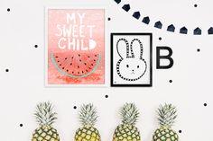 plakat arbuz, watermelon poster, kids poster, my sweet child, red pastel poster, posters for kids, plakaty dla dzieci, ściana w pokoju dziecięcym, króliczek, bunny graphic