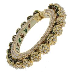 Mughal Inspired Gold Plated Pearl Bangle @ Indiatrend For $35.99USD
