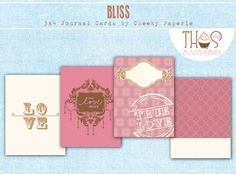 """Set of eight ready-to-print 3"""" x 4"""" Project Life Journal Cards."""