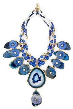 Tony Duquette (American, 1914-1999), 'Symbolizes the Heart and the Awareness of Emotional Experiences', 1990s. A blue agate, lapis lazuli, Chinese glass bead, blue zircon and vermeil necklace.