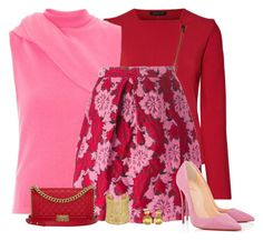 """""""pink and red"""" by divacrafts ❤ liked on Polyvore featuring Roland Mouret, J.W. Anderson, P.A.R.O.S.H., Christian Louboutin, Chanel, Ettika, Marco Bicego and Original"""