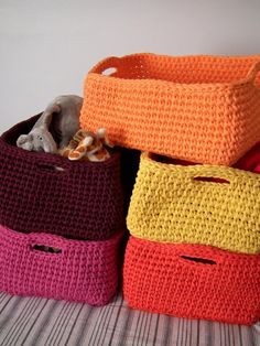 Big Orange Crochet Basket Crochet Storage Box by LoopingHome.