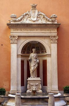 Fountain in the courtyard of the Ferrajoli Palace, Rome.