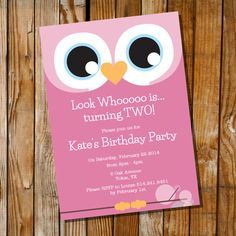 Owl Invitation for a Girl Birthday Party  by SunshineParties, $5.00...How sweet! xxx #Owls #OwlParty
