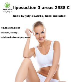 Lipo 3 areas promotion, hotel included, book by July 2015 Medical Dental, July 31, Liposuction, Surgery, Istanbul, Health Care, Promotion, Books, Libros