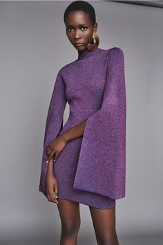 Solace London Alula Dress Purple from Fall Winter Mini dress in purple metallic lurex, with a high neckline and exaggerated flared sleeves. Purple Fashion, Look Fashion, Fashion Design, High Fashion, Fashion 2020, Runway Fashion, Womens Fashion, Fashion Trends, Bouchra Jarrar