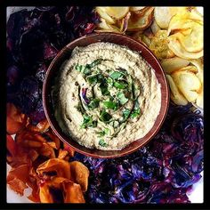 Another KISS treat- keep it so simple, that is   A mandolins slicer quickly delivered sweet potato, red cabbage, potato & beetroot chips, which were all baked, alongside a dip made of soaked cashews, avocado, garlic, balsamico, nutritional yeast, salt & pepper, and basil to finish it off.  So simple, pleasing  @nourish_n_nurture - was thinking of you while I made this, even before our chat- so in honor of You  Aaaaaand, @monulienka & @janushkala was also thinking of you guys with th... Mandolin Slicer, Red Cabbage, Nutritional Yeast, Beetroot, Hummus, Basil, Sweet Potato, Dip, Garlic