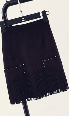 Urban Cowgirl Black Faux Suede Fringe Stud A Line Mini Skirt