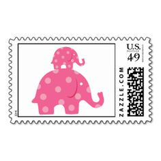 Pink Mom and Baby Elephant Postage. Wanna make each letter a special delivery? Try to customize this great stamp template and put a personal touch on the envelope. Just click the image to get started!