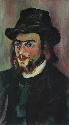 """Suzanne Valadon: """"Portrait of Erik Satie (Retrato de Erik Satie)"""", óleo sobre lienzo, 22 x 41 cm., c.1892 - Musée National d'Art Moderne, Centre Pompidou, Paris, Francia"""