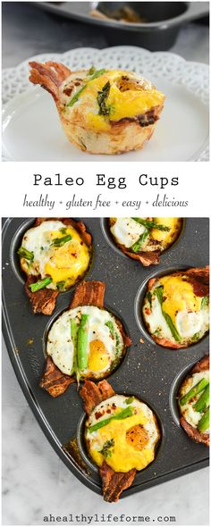 Paleo Egg Cups are the perfect breakfast to start off your day.  Loads of protein, with fresh asparagus makes this gluten free, grain free, nut free, paleo and whole30 friendly | ahealthylifeforme.com