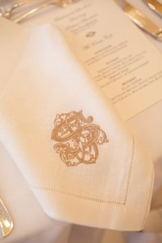 Embroidered Napkin Wedding Monogram