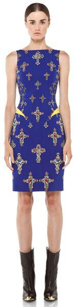 Gianni Versace Iconic Clothes   Versace Cross Dress in Geometric Printblue in (geometric print,blue ...