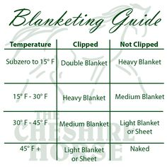Unsure which blanket to use on your horse? Check out this handy Horse Blanketing Guide from The Cheshire Horse!