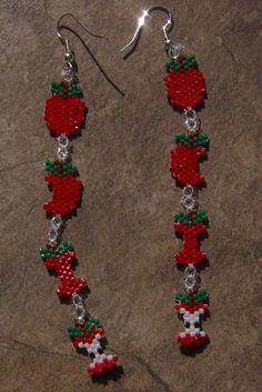 Boucles d'oreilles pomme artisanal perles de graine par wolflady