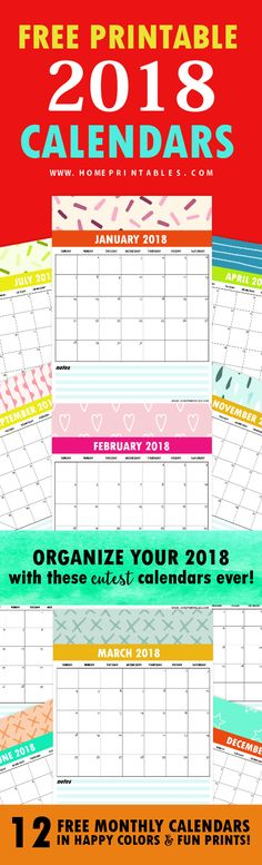 Looking for printable calendars? This set of free calendar 2018 is love! Check out the lovely designs included. They are too cute!