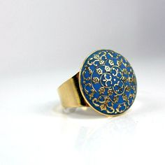 Gold blue ring imperial victorian style by AndreaBacmanJewelry, $48.00