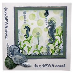 """This Card was made by Lisa Pearce using the new """"Shells"""" stamp set designed by Sharon Bennett for Hobby Art Stamps."""