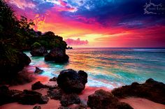 beach, pretty, colours, rocks, sunset