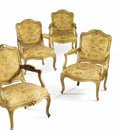 A SUITE OF FOUR LOUIS XV GILTWOOD FAUTEUILS À CHÂSSIS, ATTRIBUTED TO LOUIS CRESSON, CIRCA 1750