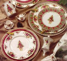 "Royal Albert - Christmas, Holiday, or Winter Themed Patterns - Special Collections ""Seasons of Colour"" Old Country Roses - LOVE THESE"