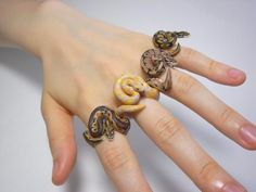 ring figure snake Ball python fimo hand made oven clay Python regius snake ring Count Blue animal ring